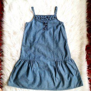 Gap Kids Girls Boho Chambray Embroidered Dress